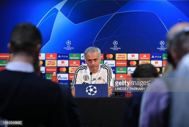 TOPSHOT Manchester United's Portuguese manager Jose Mourinho attends a press conference at Old Trafford stadium in Manchester north west England on...