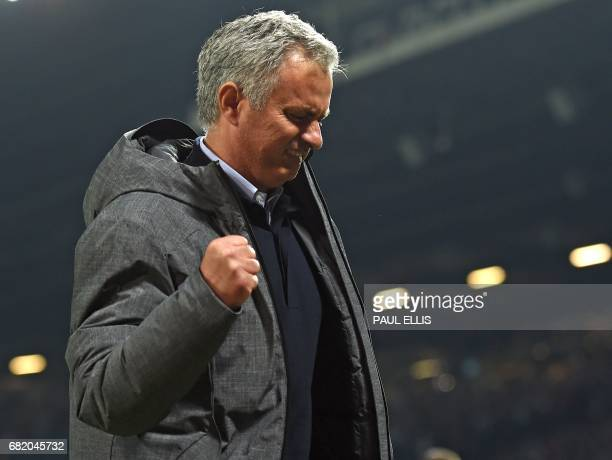 Manchester United's Portuguese manager Jose Mourinho celebrates after the UEFA Europa League semifinal secondleg football match between Manchester...