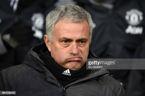 Manchester United's Portuguese manager Jose Mourinho gestures as he awaits kick off in the English Premier League football match between West...