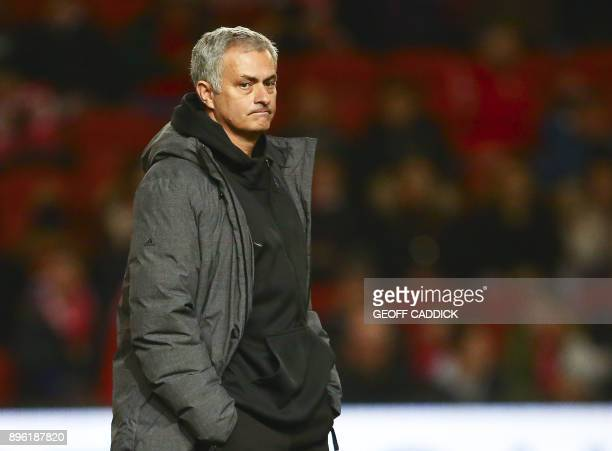 Manchester United's Portuguese manager Jose Mourinho gestures before the English League Cup quarterfinal football match between Bristol City and...