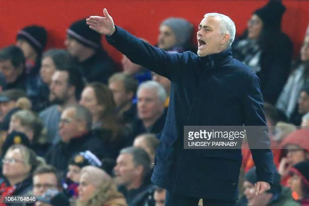 Manchester United's Portuguese manager Jose Mourinho gestures from the touchline during the English Premier League football match between Manchester...