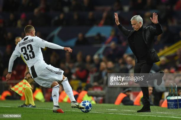 Manchester United's Portuguese manager Jose Mourinho gestures on the touchline during the Champions League group H football match between Manchester...