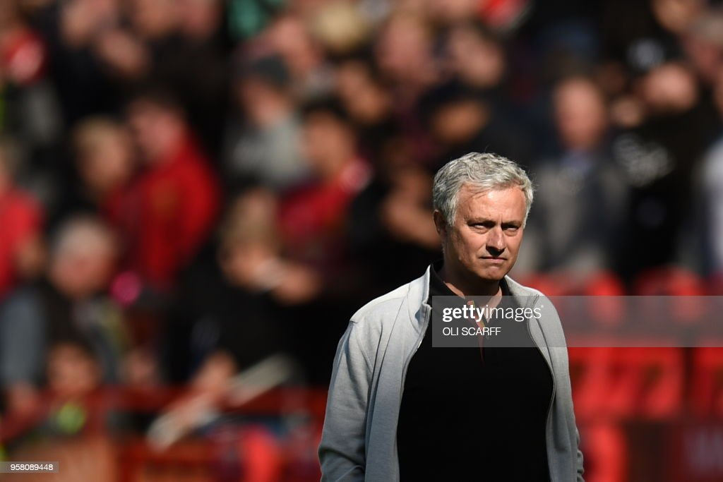 TOPSHOT - Manchester United's Portuguese manager Jose Mourinho is seen during the English Premier League football match between Manchester United and Watford at Old Trafford in Manchester, north west England, on May 13, 2018. (Photo by Oli SCARFF / AFP) / RESTRICTED TO EDITORIAL USE. No use with unauthorized audio, video, data, fixture lists, club/league logos or 'live' services. Online in-match use limited to 75 images, no video emulation. No use in betting, games or single club/league/player publications. /