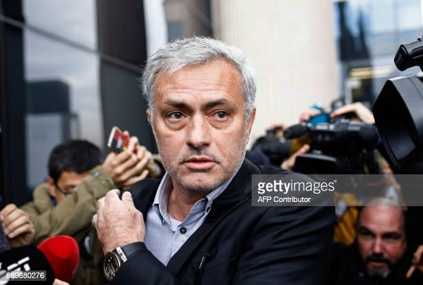 Manchester United's Portuguese manager Jose Mourinho leaves the Courthouse in Pozuelo de Alarcon near Madrid on November 03 2017 Jose was summoned by...