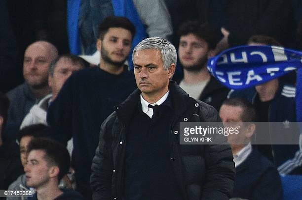Manchester United's Portuguese manager Jose Mourinho looks on from the touchline during the English Premier League football match between Chelsea and...