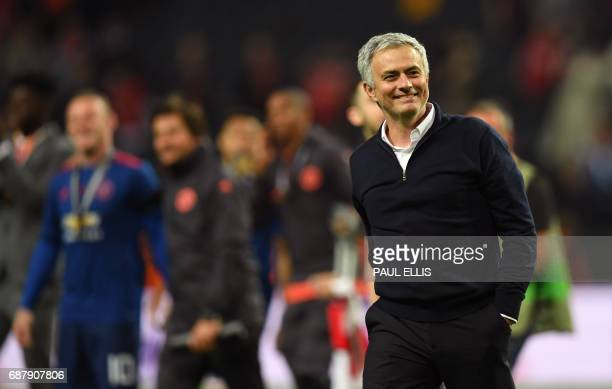 Manchester United's Portuguese manager Jose Mourinho reacts after the UEFA Europa League final football match Ajax Amsterdam v Manchester United on...