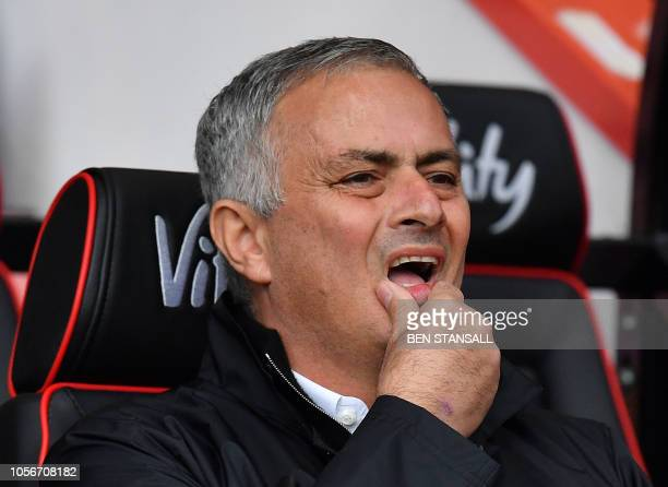 Manchester United's Portuguese manager Jose Mourinho reacts ahead of the English Premier League football match between Bournemouth and Manchester...