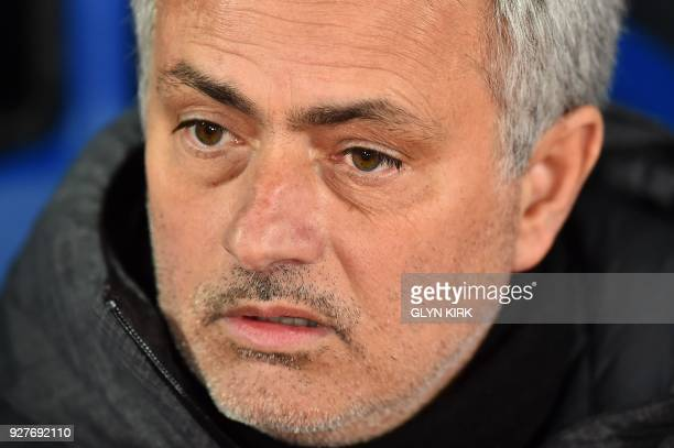 Manchester United's Portuguese manager Jose Mourinho reacts ahead of the English Premier League football match between Crystal Palace and Manchester...
