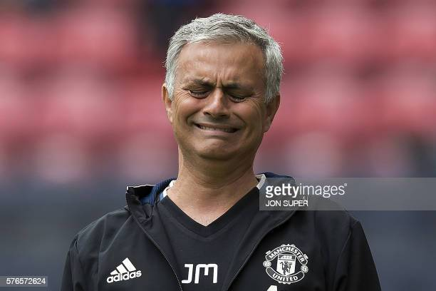 Manchester United's Portuguese manager Jose Mourinho reacts during the preseason friendly football match between Wigan Athletic and Manchester United...