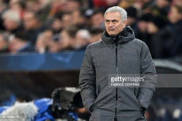 Manchester United's Portuguese manager Jose Mourinho reatcs during the UEFA Champions League Group A football match between FC Basel and Manchester...