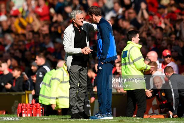 Manchester United's Portuguese manager Jose Mourinho shakes hands with Watford's Spanish head coach Javi Gracia at the end of the English Premier...