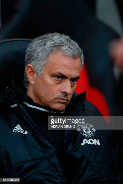 Manchester United's Portuguese manager Jose Mourinho waits for kick off of the English Premier League football match between Southampton and...