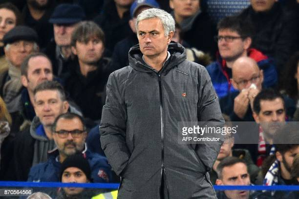 Manchester United's Portuguese manager Jose Mourinho watches from the touchline during the second half of the English Premier League football match...