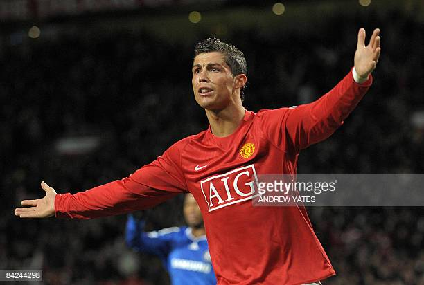 Manchester United's Portuguese midfielder Cristiano Ronaldo appeals to the referee against Chelsea during their English Premier League football match...