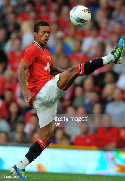 Manchester United's Portuguese midfielder Nani controls the ball during the Paul Scholes testimonial football match between Manchester United and New...