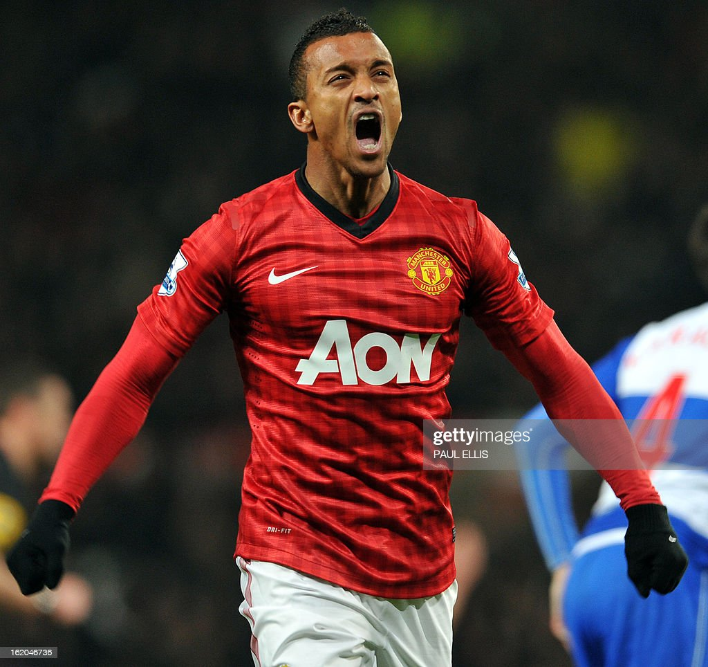 """Manchester United's Portuguese midfielder Nani reacts after missed opportunity during the English FA Cup fifth round football match between Manchester United and Reading at Old Trafford in Manchester, north west England, on February 18, 2013. USE. No use with unauthorized audio, video, data, fixture lists, club/league logos or """"live"""" services. Online in-match use limited to 45 images, no video emulation. No use in betting, games or single club/league/player publications."""