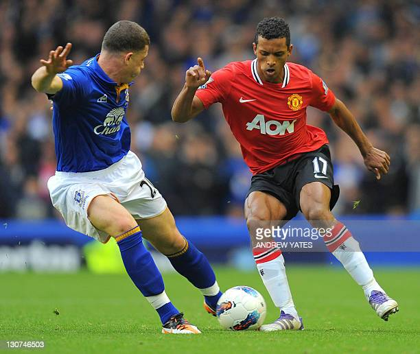 Manchester United's Portuguese midfielder Nani vies with Everton's English midfielder Ross Barkley during the English Premier League football match...