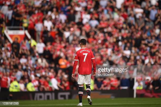 Manchester United's Portuguese striker Cristiano Ronaldo prepares for kick off in the English Premier League football match between Manchester United...