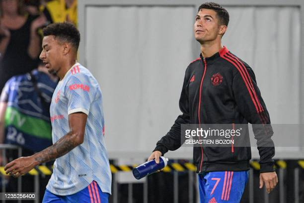 Manchester United's Portuguese striker Cristiano Ronaldo reacts at the end of the during the UEFA Champions League Group F football match between...