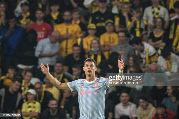 Manchester United's Portuguese striker Cristiano Ronaldo reacts during the UEFA Champions League Group F football match between Young Boys and...