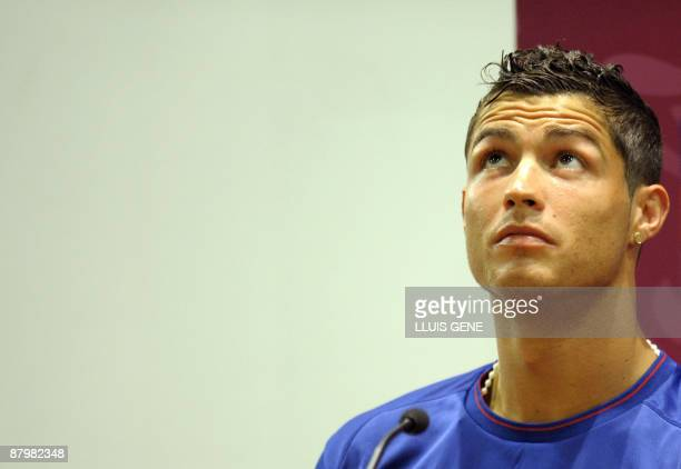 Manchester United's Portuguese winger Cristiano Ronaldo takes part in a press conference at the Olympic stadium in Rome on May 26 2009 on the eve of...