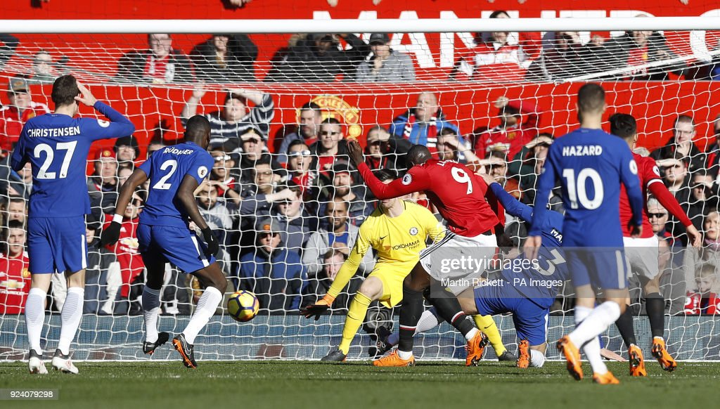 Manchester United's Romelu Lukaku scores his side's first goal of the game during the Premier League match at Old Trafford, Manchester.