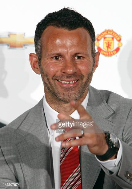 Manchester United's Ryan Giggs attends a Chevrolet promotional event at Shanghai Science and Technology Museum on May 31 2012 in Shanghai China
