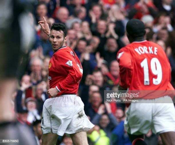 LEAGUE Manchester United's Ryan Giggs celebrates his goal with team mate Dwight Yorke during the FA Carling Premiership game against Coventry City at...