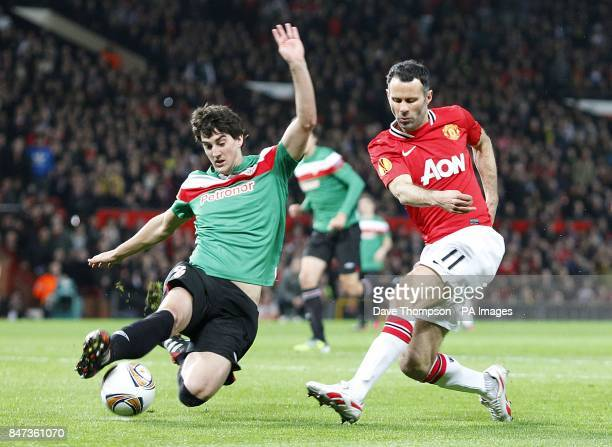 Manchester United's Ryan Giggs has a shot closed down by Athletic Bilbao's Mikel San Jose Dominguez