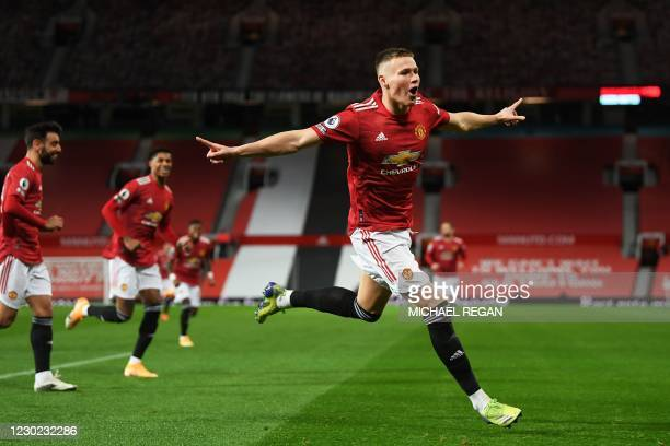 Manchester United's Scottish midfielder Scott McTominay celebrates scoring his team's second goal during the English Premier League football match...