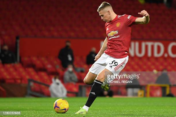 Manchester United's Scottish midfielder Scott McTominay scores his team's first goal during the English Premier League football match between...