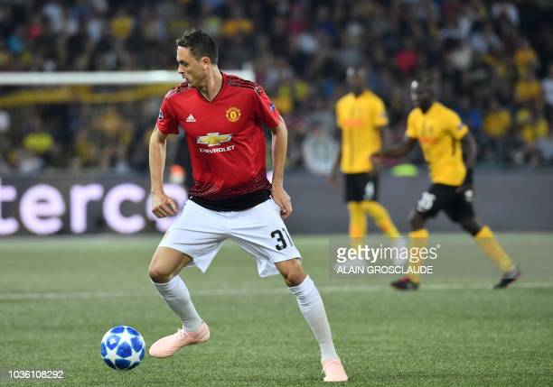 Manchester United's Serbian midfielder Nemanja Matic controls the ball during the UEFA Champions League group H football match between Young Boys and...