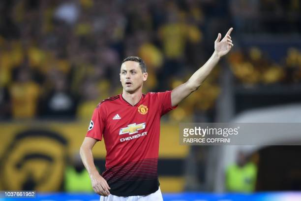 Manchester United's Serbian midfielder Nemanja Matic gestures during the UEFA Champions League group H football match between Young Boys and...