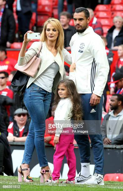Manchester United's Sergio Romero with wife Eliana Guercio during the Premier League match at Old Trafford Manchester