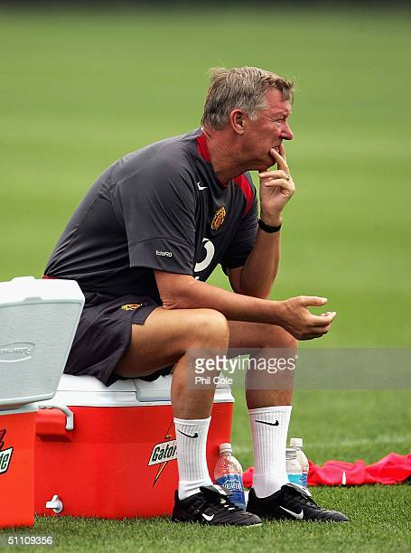 Manchester United's Sir Alex Fergerson looks on during training at the NovaCare Complex on July 23 2004 in Philadelphia United States