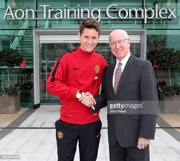 Manchester United's Sir Bobby Charlton unveils new signing Ander Herrera at the AON Training Complex on June 25 2014 in Manchester England