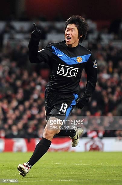 Manchester United's South Korean midfielder Park Ji-Sung celebrates after scoring the third goal during their English Premier League football match...
