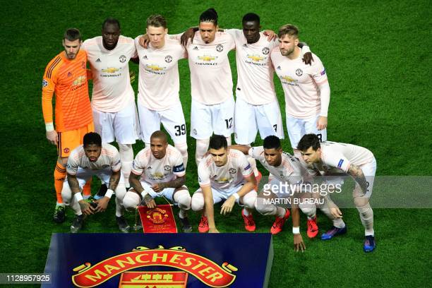 Manchester United's Spanish goalkeeper David De Gea Belgian forward Romelu Lukaku Scottish midfielder Scott McTominay English defender Chris Smalling...