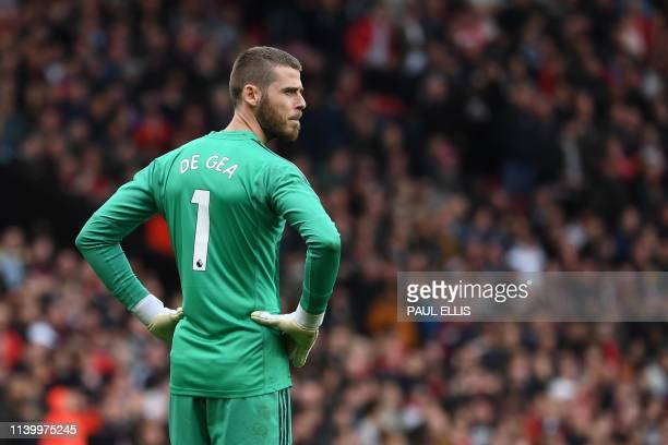 Manchester United's Spanish goalkeeper David de Gea comes out for the second half during the English Premier League football match between Manchester...