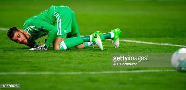 Manchester United's Spanish goalkeeper David de Gea looks at the ball during the UEFA Super Cup football match between Real Madrid and Manchester...