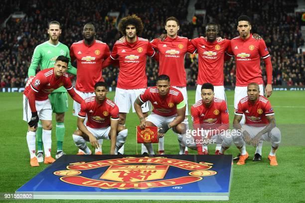 Manchester United's Spanish goalkeeper David de Gea Manchester United's Belgian striker Romelu Lukaku Manchester United's Belgian midfielder Marouane...