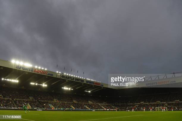 Manchester United's Spanish goalkeeper David de Gea takes a kick during the English Premier League football match between Newcastle United and...