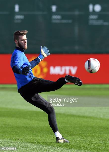 Manchester United's Spanish goalkeeper David de Gea takes part in a training session at their Carrington base in Manchester, north west England, on...