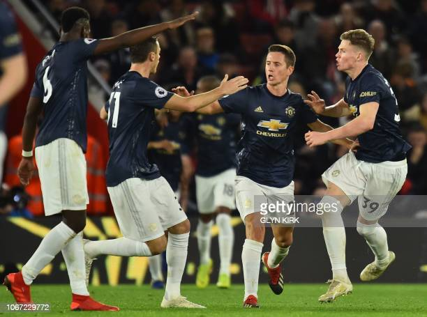 Manchester United's Spanish midfielder Ander Herrera celebrates scoring their second goal to equalise 22 during the English Premier League football...