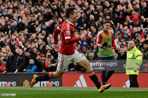 Manchester United's Spanish midfielder Ander Herrera celebrates scoring their third goal during the English Premier League football match between...