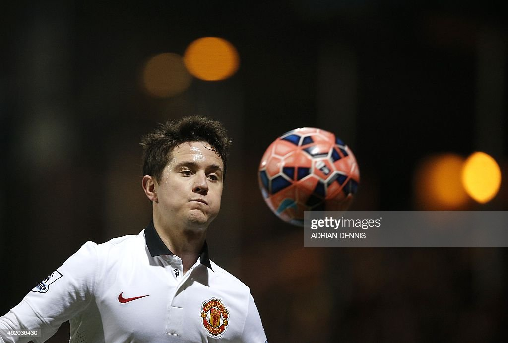 Manchester United's Spanish midfielder Ander Herrera controls the ball during the FA Cup fourth round football match between Cambridge United and Manchester United at The R Costings Abbey Stadium in Cambridge on January 23, 2015. AFP PHOTO / ADRIAN DENNIS == RESTRICTED TO EDITORIAL USE. No use with unauthorized audio, video, data, fixture lists, club/league logos or live services. Online in-match use limited to 45 images, no video emulation. No use in betting, games or single club/league/player publications. ==