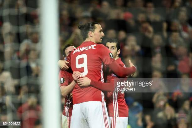 Manchester United's Spanish midfielder Juan Mat Manchester United's Swedish striker Zlatan Ibrahimovic and Manchester United's Armenian midfielder...