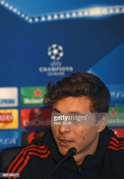 Manchester United's Swedish defender Victor Lindelof attends a press conference at the club's training complex near Carrington west of Manchester in...