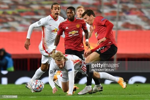 Manchester United's Swedish defender Victor Lindelof RB Leipzig's Swedish midfielder Emil Forsberg during the UEFA Champions league group H football...