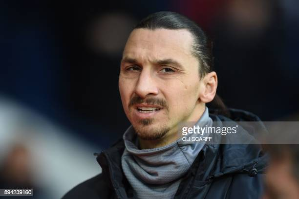 Manchester United's Swedish striker Zlatan Ibrahimovic arrives ahead of the English Premier League football match between West Bromwich Albion and...